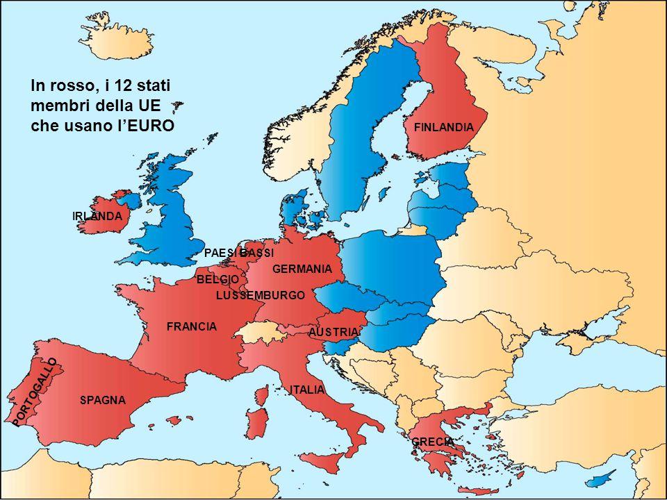 In rosso, i 12 stati membri della UE che usano l'EURO