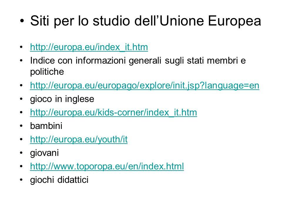 Siti per lo studio dell'Unione Europea