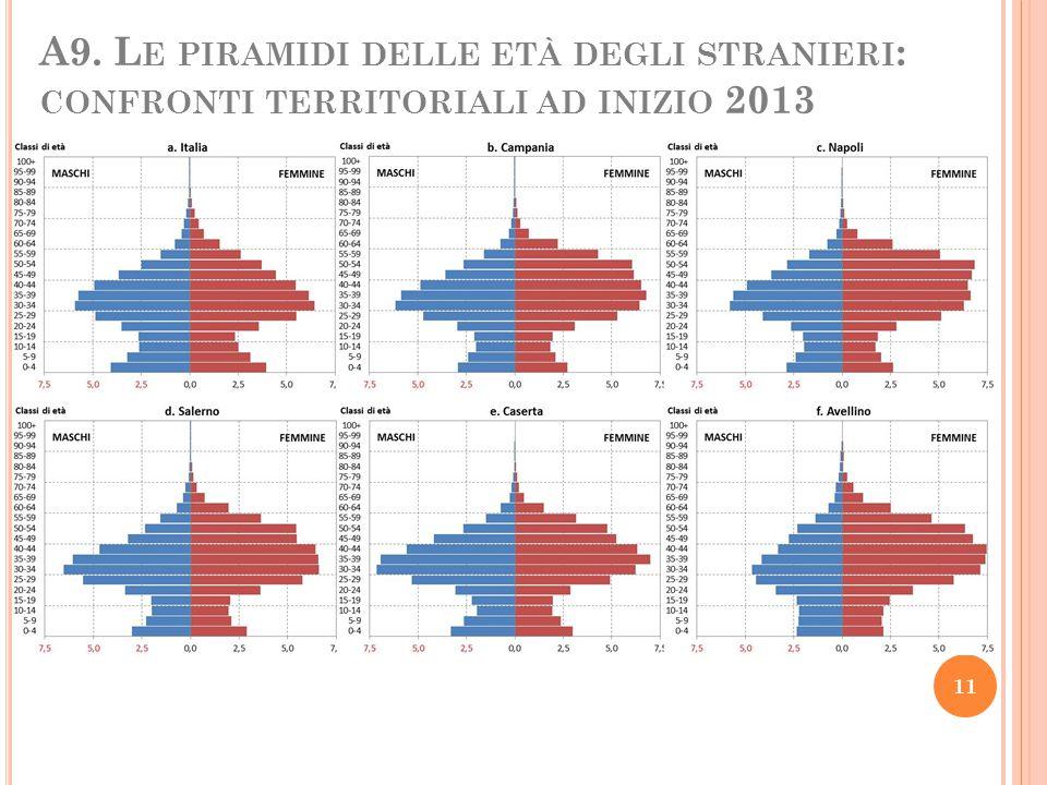 A9. Le piramidi delle età degli stranieri: confronti territoriali ad inizio 2013