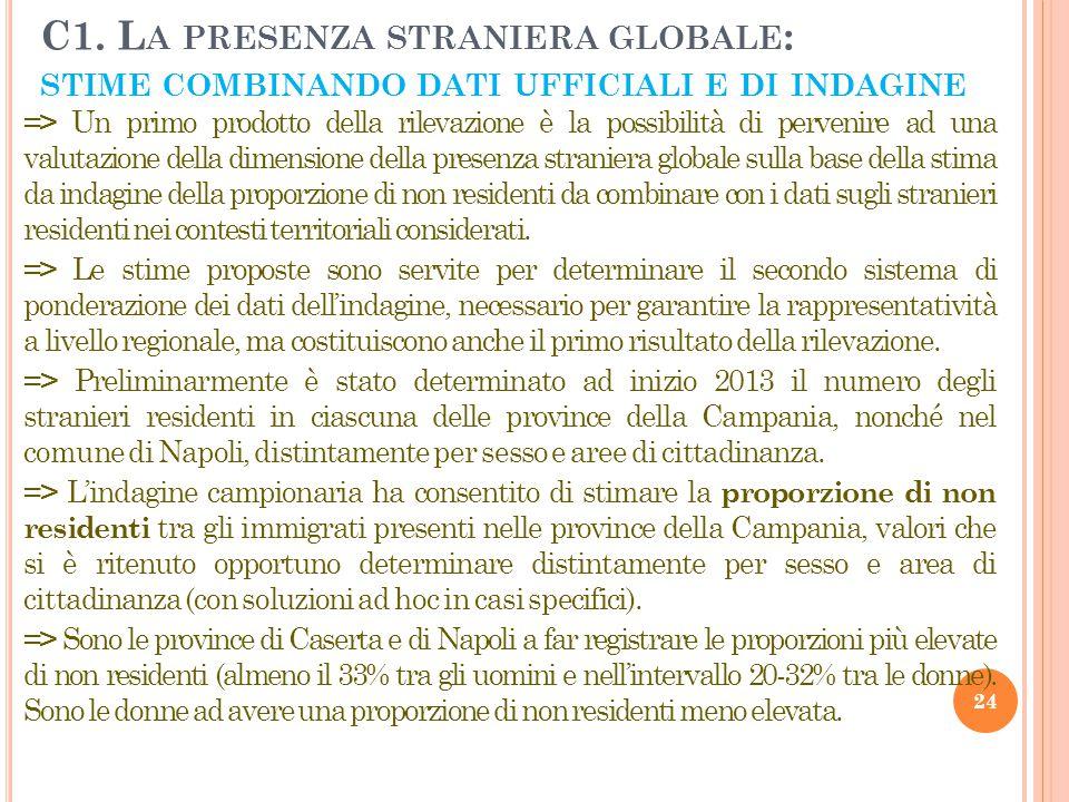 C1. La presenza straniera globale: stime combinando dati ufficiali e di indagine