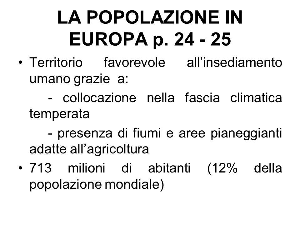 LA POPOLAZIONE IN EUROPA p. 24 - 25