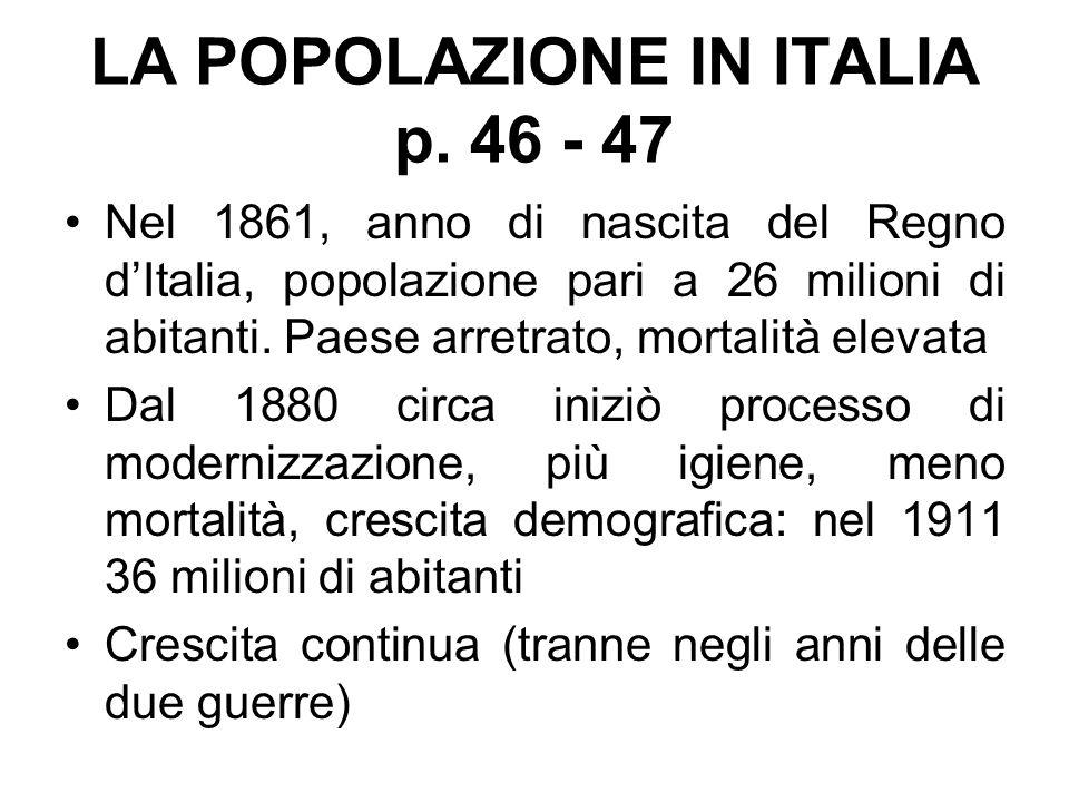 LA POPOLAZIONE IN ITALIA p. 46 - 47