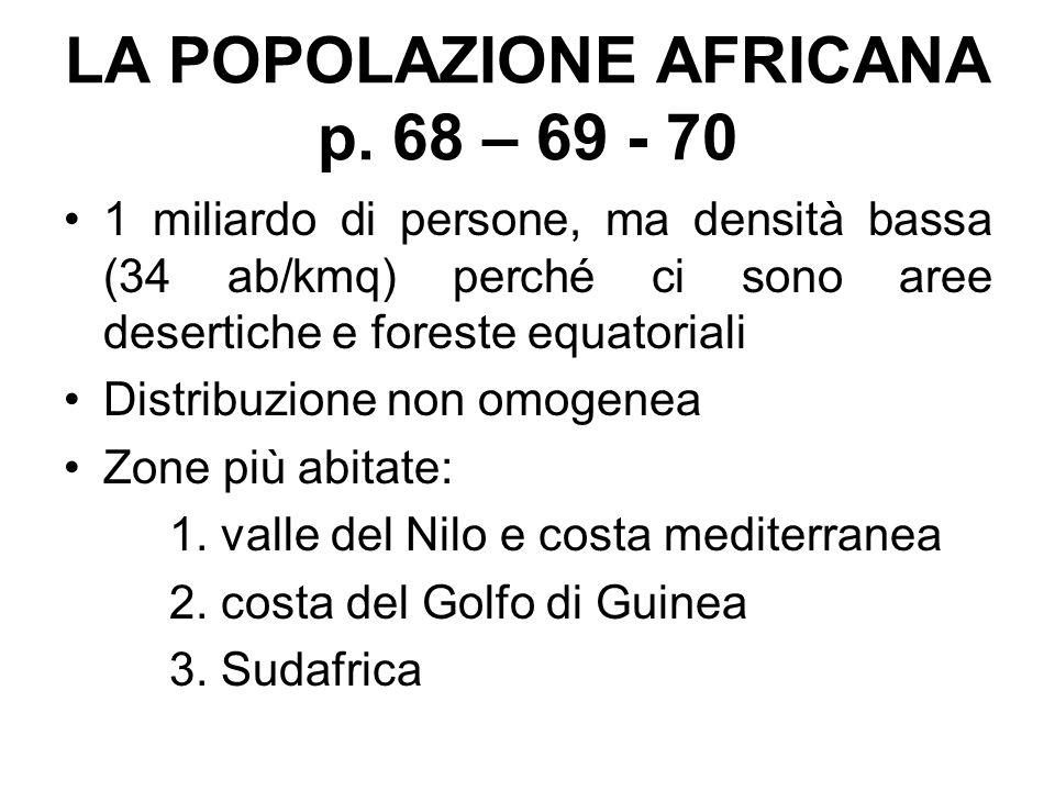 LA POPOLAZIONE AFRICANA p. 68 – 69 - 70