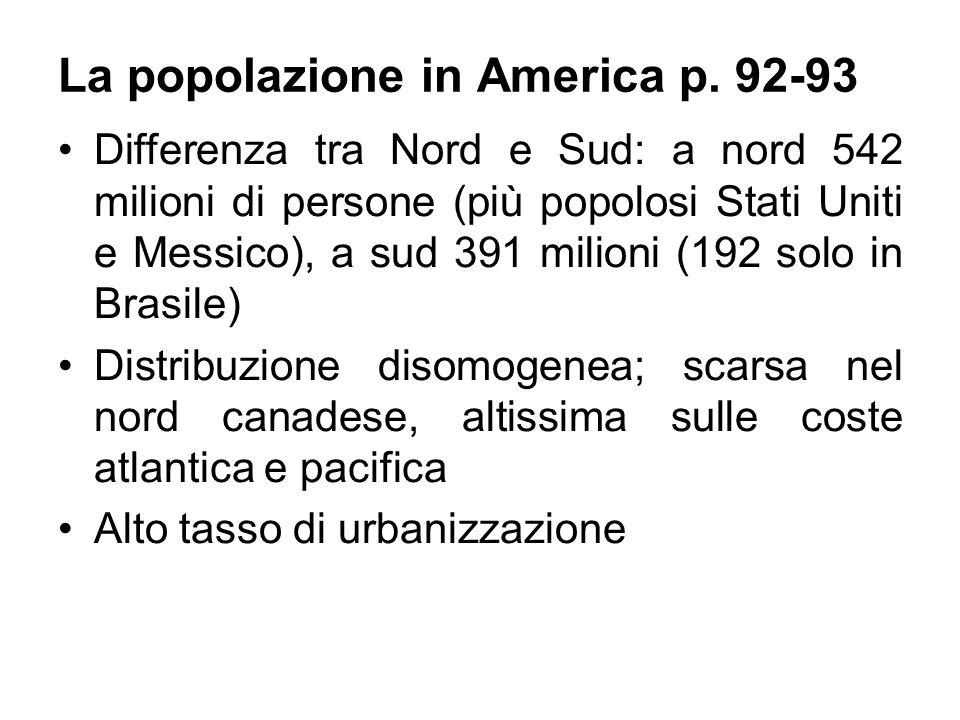 La popolazione in America p. 92-93