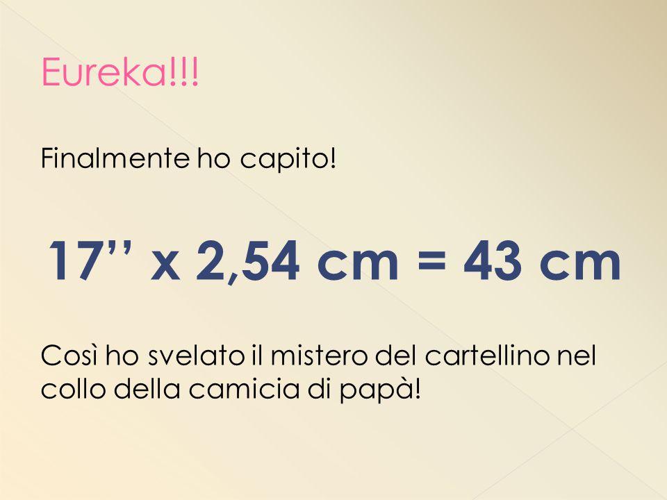 17'' x 2,54 cm = 43 cm Eureka!!! Finalmente ho capito!