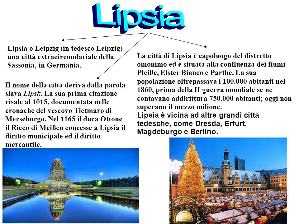 1515 Lipsia. Lipsia o Leipzig (in tedesco Leipzig) una città extracircondariale della Sassonia, in Germania.