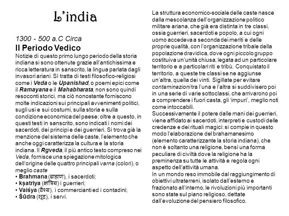 L'india Il Periodo Vedico 1300 - 500 a.C Circa