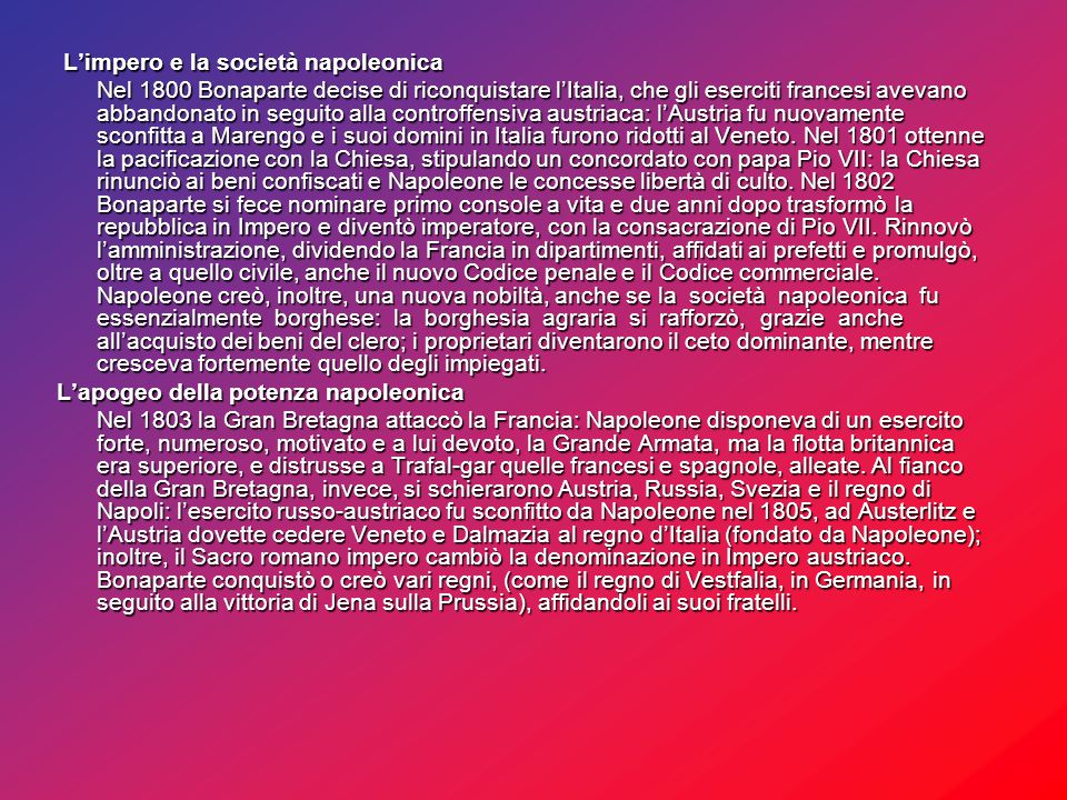 L'impero e la società napoleonica