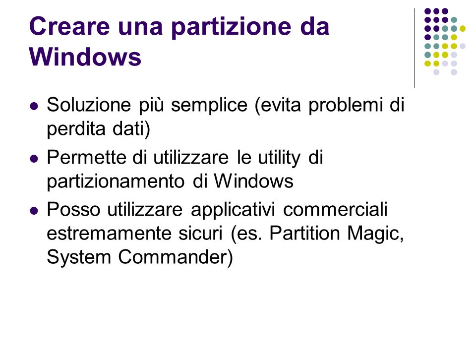Creare una partizione da Windows
