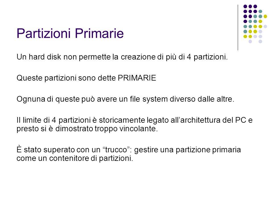 Partizioni Primarie Un hard disk non permette la creazione di più di 4 partizioni. Queste partizioni sono dette PRIMARIE.