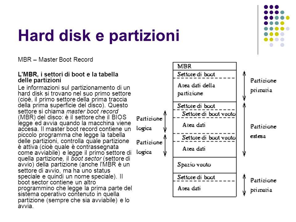 Hard disk e partizioni MBR – Master Boot Record