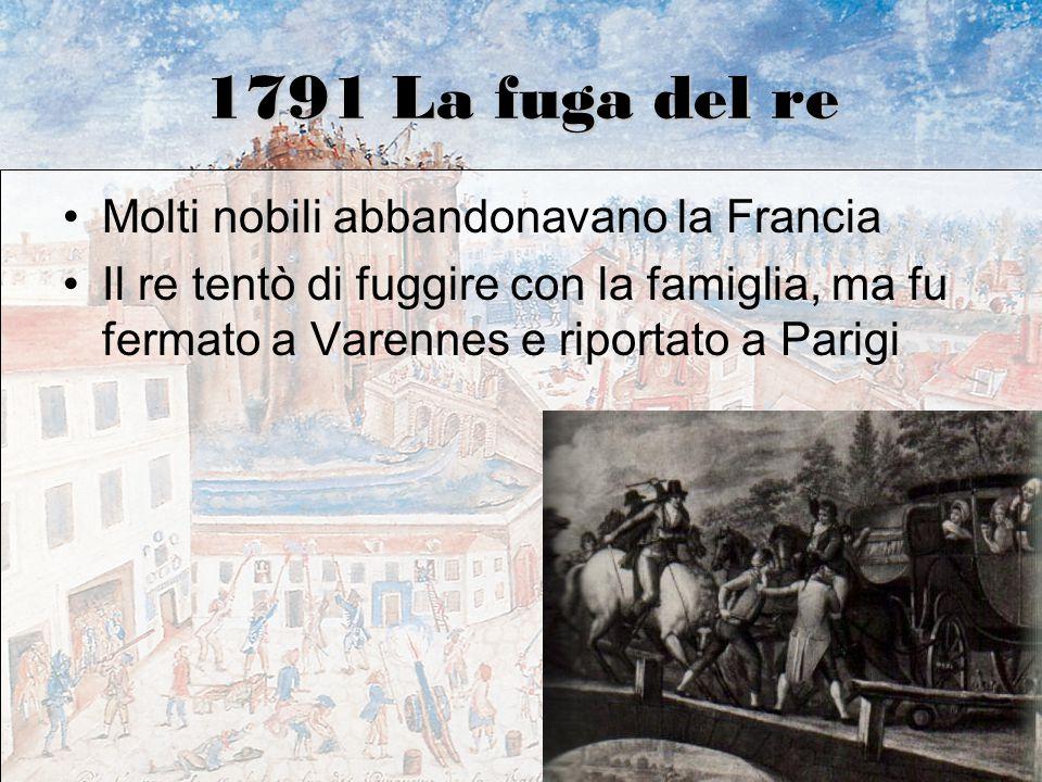 1791 La fuga del re Molti nobili abbandonavano la Francia