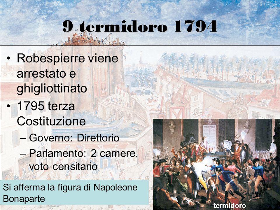 9 termidoro 1794 Robespierre viene arrestato e ghigliottinato