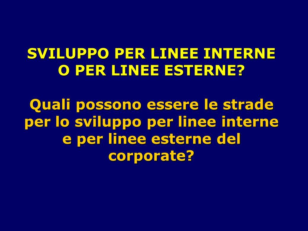 SVILUPPO PER LINEE INTERNE O PER LINEE ESTERNE