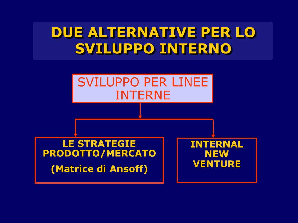 DUE ALTERNATIVE PER LO SVILUPPO INTERNO