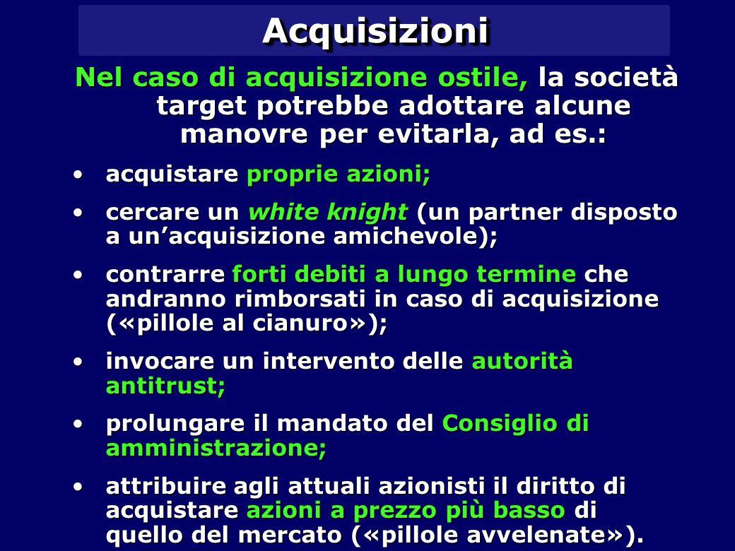 Acquisizioni Nel caso di acquisizione ostile, la società target potrebbe adottare alcune manovre per evitarla, ad es.:
