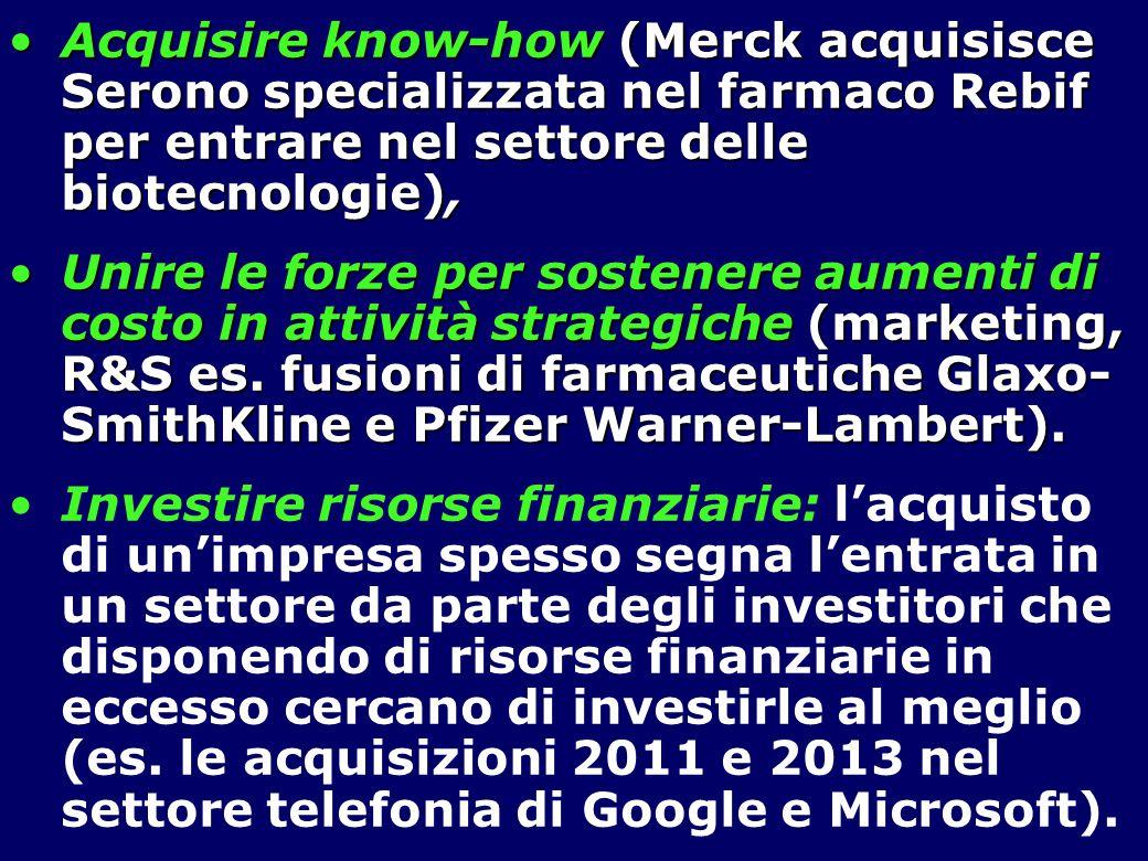Acquisire know-how (Merck acquisisce Serono specializzata nel farmaco Rebif per entrare nel settore delle biotecnologie),
