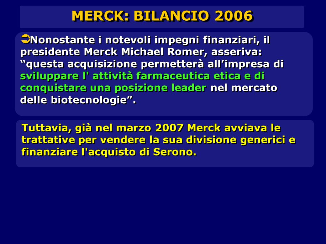 MERCK: BILANCIO 2006