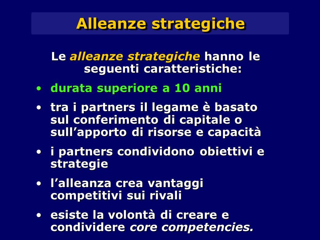 Le alleanze strategiche hanno le seguenti caratteristiche: