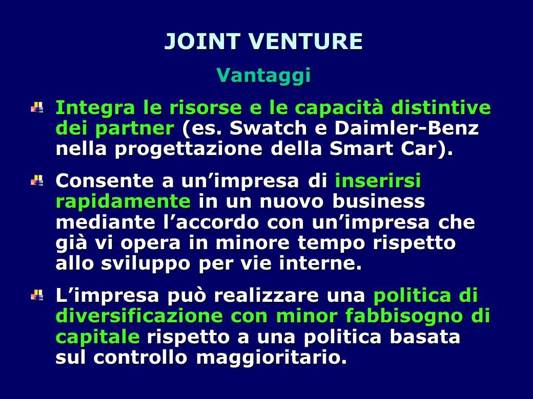 JOINT VENTURE Vantaggi