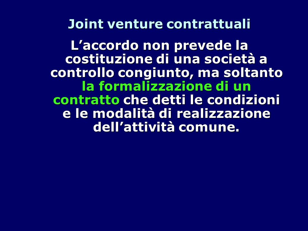Joint venture contrattuali
