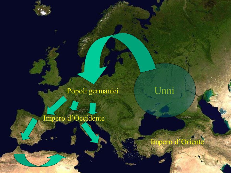 Unni Popoli germanici Impero d'Occidente Impero d'Oriente