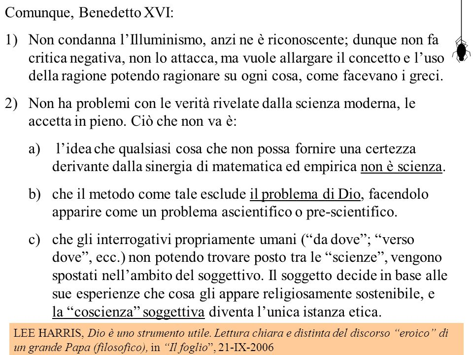 Comunque, Benedetto XVI: