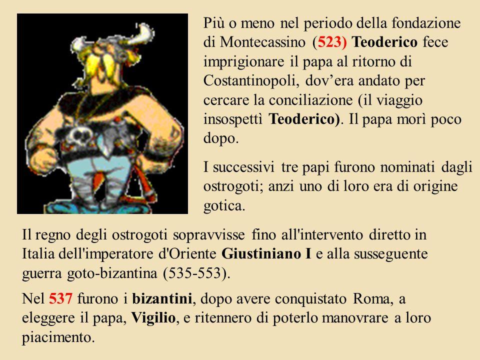 Più o meno nel periodo della fondazione di Montecassino (523) Teoderico fece imprigionare il papa al ritorno di Costantinopoli, dov'era andato per cercare la conciliazione (il viaggio insospettì Teoderico). Il papa morì poco dopo.