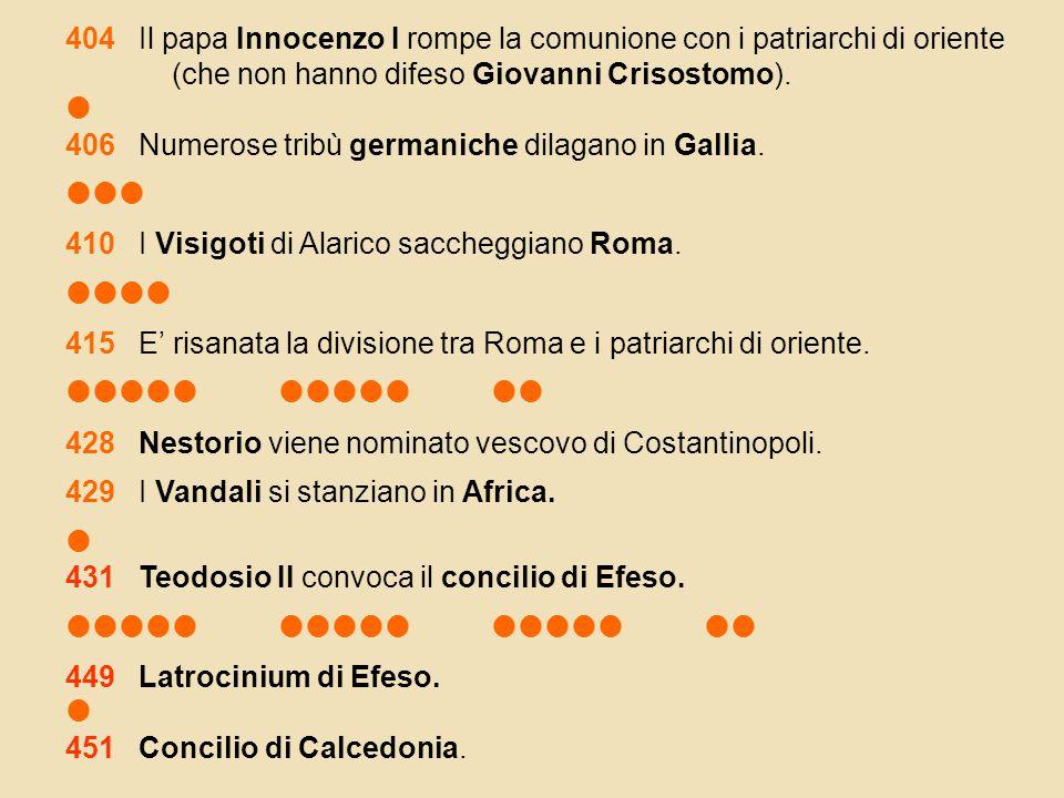 404 Il papa Innocenzo I rompe la comunione con i patriarchi di oriente