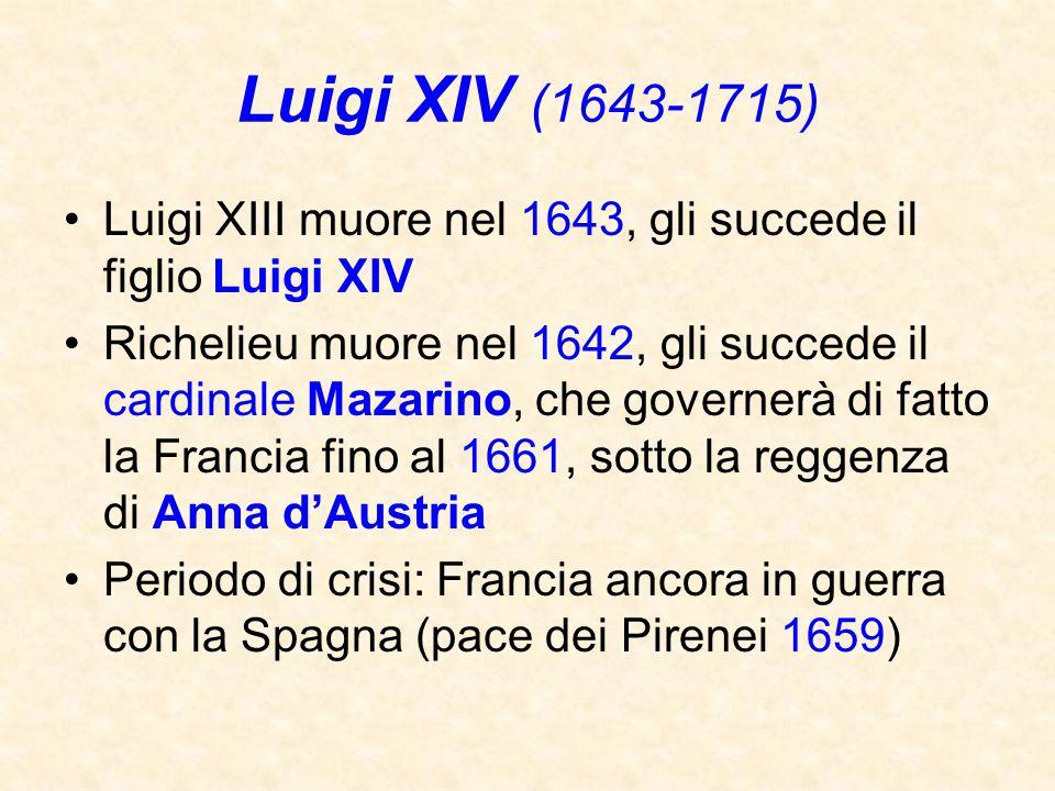 Luigi XIV (1643-1715) Luigi XIII muore nel 1643, gli succede il figlio Luigi XIV.