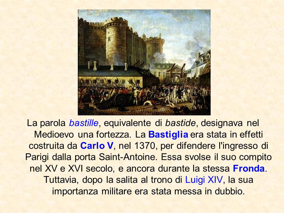 La parola bastille, equivalente di bastide, designava nel Medioevo una fortezza.