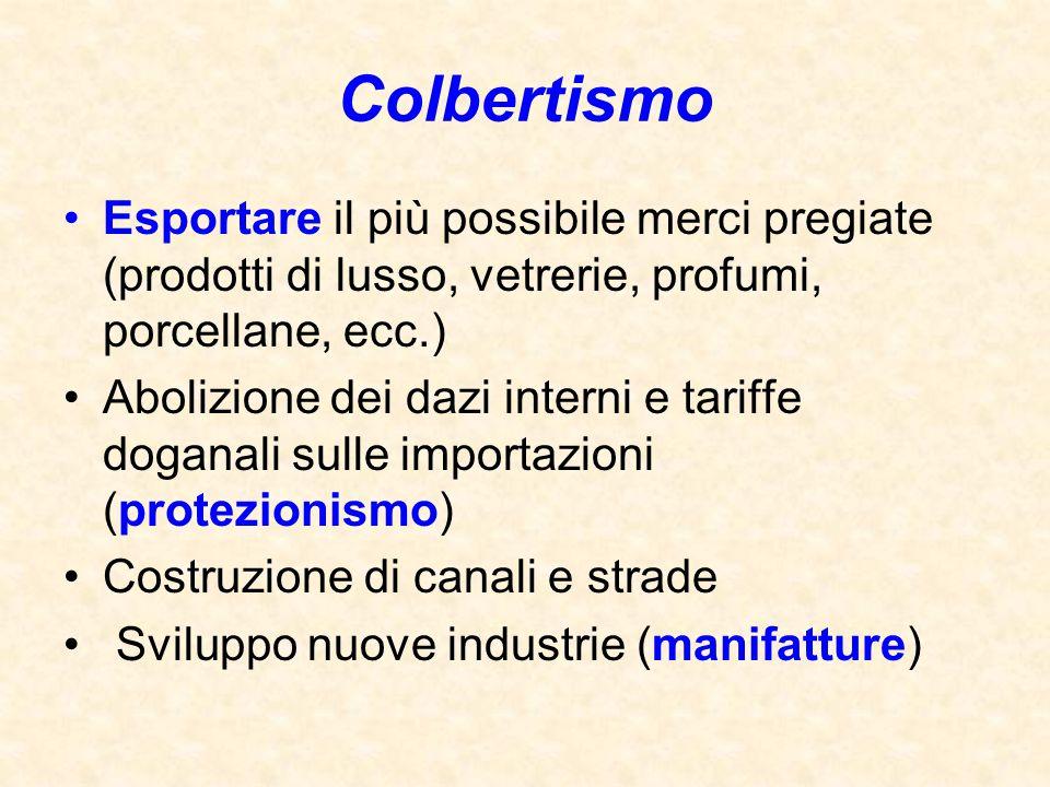 Colbertismo Esportare il più possibile merci pregiate (prodotti di lusso, vetrerie, profumi, porcellane, ecc.)