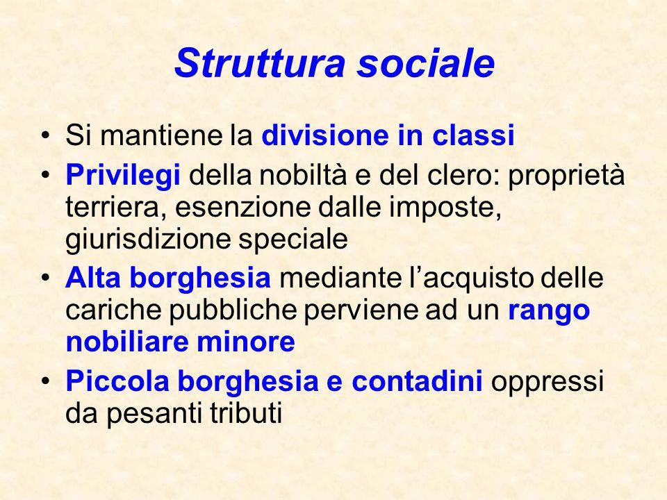 Struttura sociale Si mantiene la divisione in classi