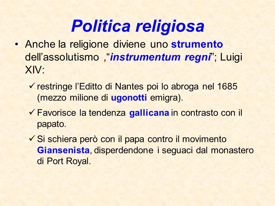 Politica religiosa Anche la religione diviene uno strumento dell'assolutismo , instrumentum regni ; Luigi XIV: