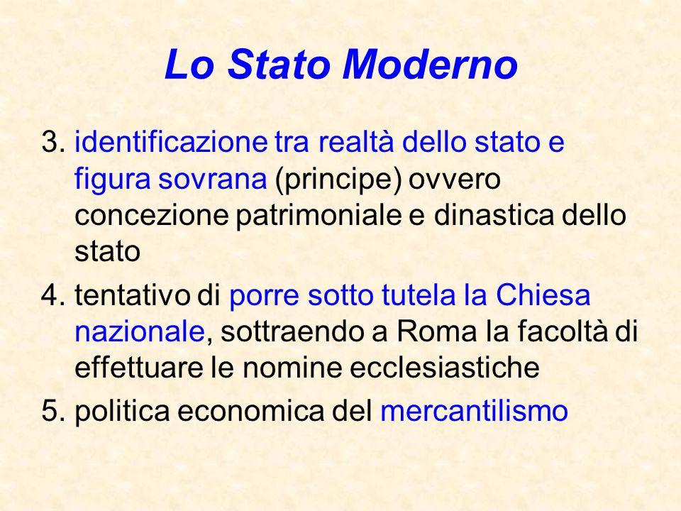 Lo Stato Moderno 3. identificazione tra realtà dello stato e figura sovrana (principe) ovvero concezione patrimoniale e dinastica dello stato.