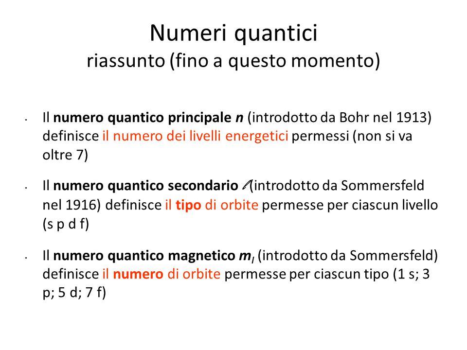 Numeri quantici riassunto (fino a questo momento)