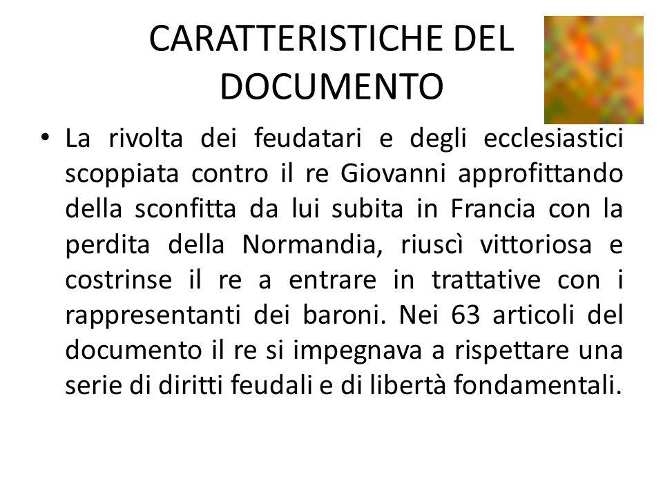 CARATTERISTICHE DEL DOCUMENTO