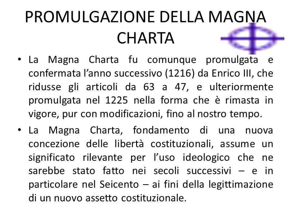 PROMULGAZIONE DELLA MAGNA CHARTA