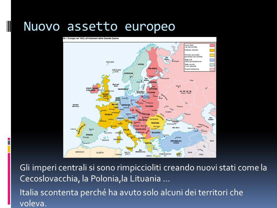 Nuovo assetto europeo Gli imperi centrali si sono rimpiccioliti creando nuovi stati come la Cecoslovacchia, la Polonia,la Lituania …