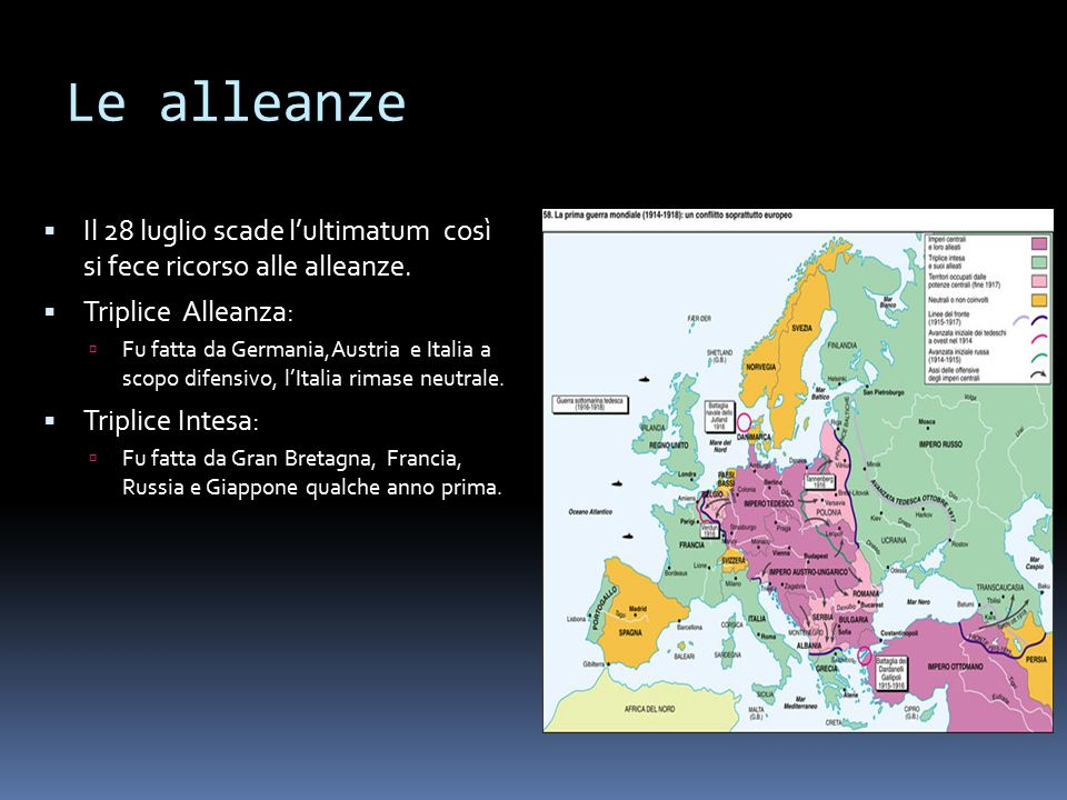 Le alleanze Il 28 luglio scade l'ultimatum così si fece ricorso alle alleanze. Triplice Alleanza: