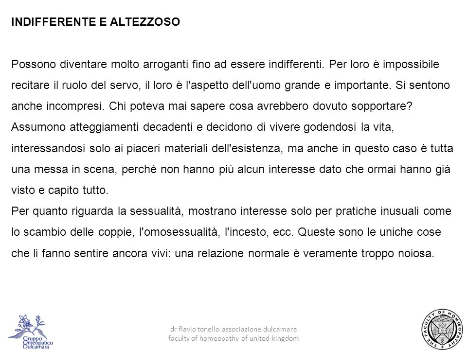 INDIFFERENTE E ALTEZZOSO