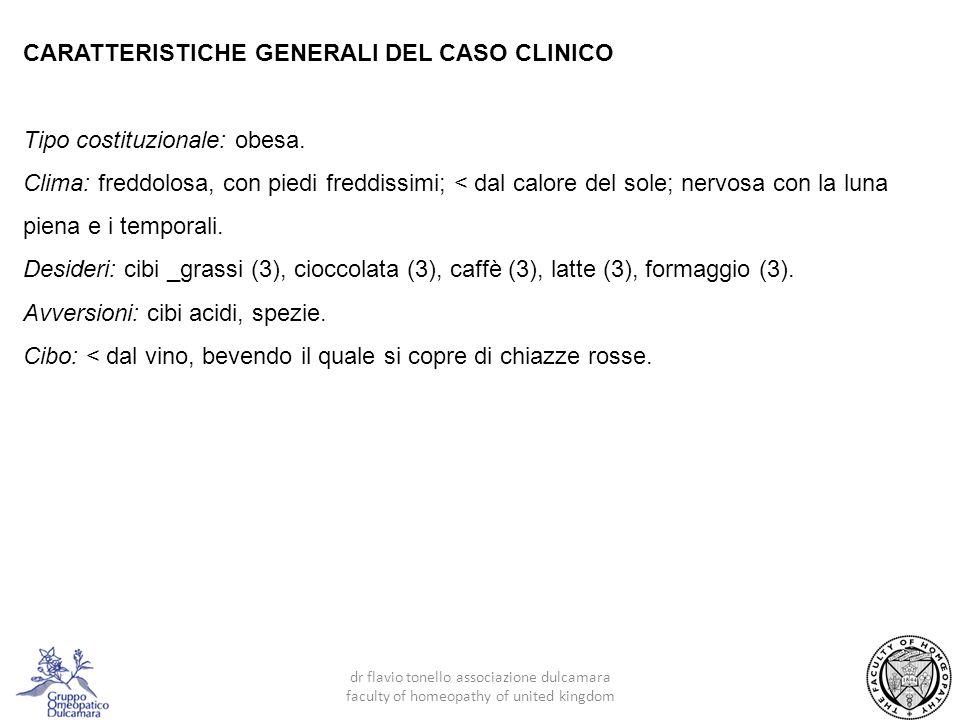 CARATTERISTICHE GENERALI DEL CASO CLINICO Tipo costituzionale: obesa.
