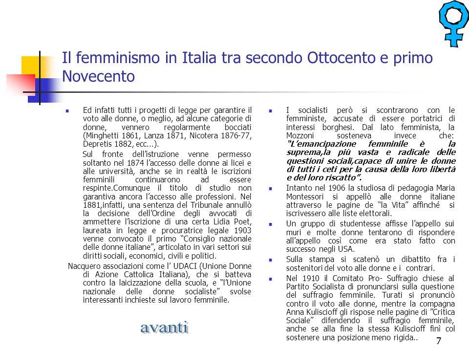 Il femminismo in Italia tra secondo Ottocento e primo Novecento