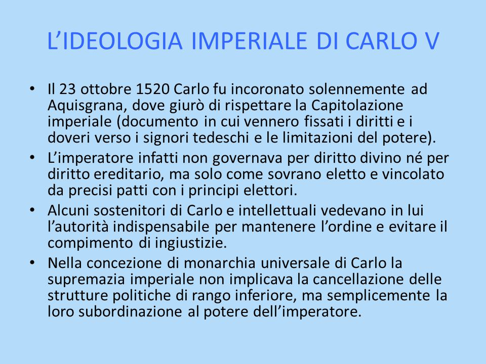 L'IDEOLOGIA IMPERIALE DI CARLO V