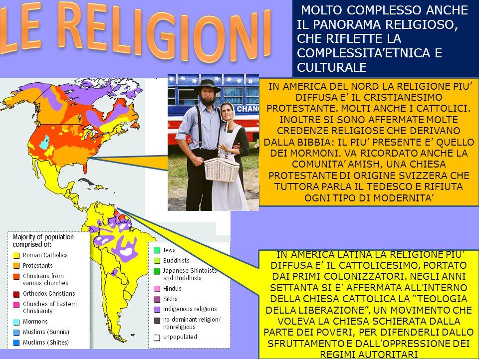 LE RELIGIONI MOLTO COMPLESSO ANCHE IL PANORAMA RELIGIOSO, CHE RIFLETTE LA COMPLESSITA'ETNICA E CULTURALE.