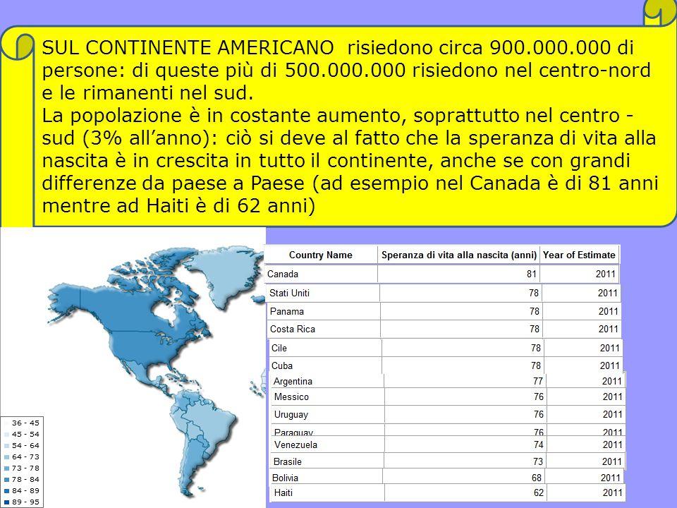 SUL CONTINENTE AMERICANO risiedono circa 900. 000