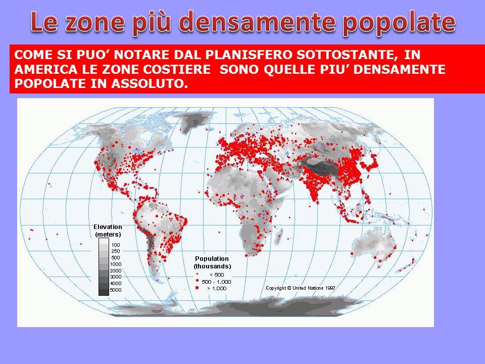 Le zone più densamente popolate