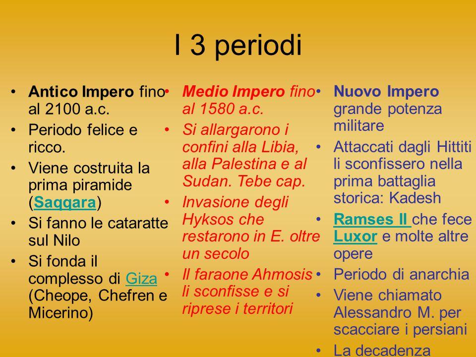 I 3 periodi Antico Impero fino al 2100 a.c. Periodo felice e ricco.