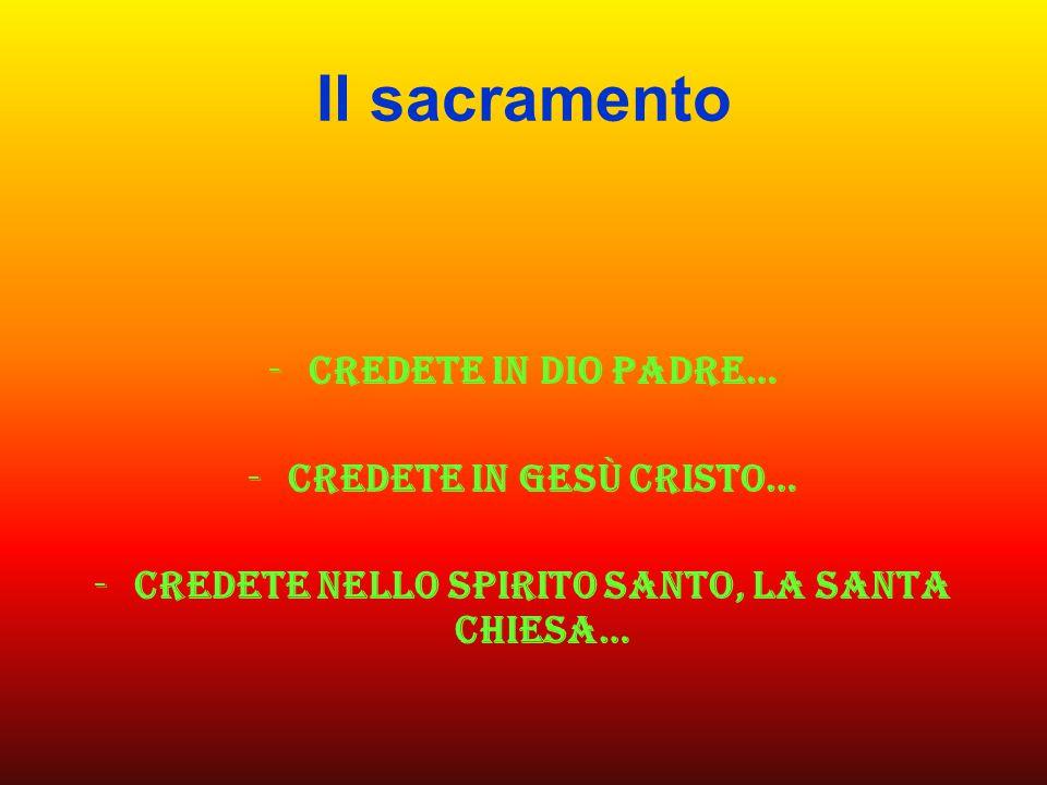 Credete in gesù cristo… Credete nello spirito santo, la santa chiesa…