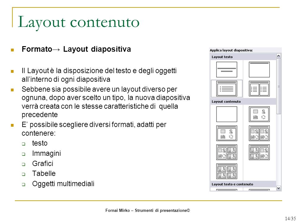 Layout contenuto Formato→ Layout diapositiva
